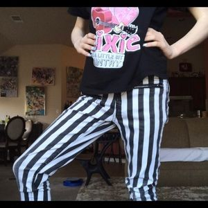 Striped skinny jeans black and white